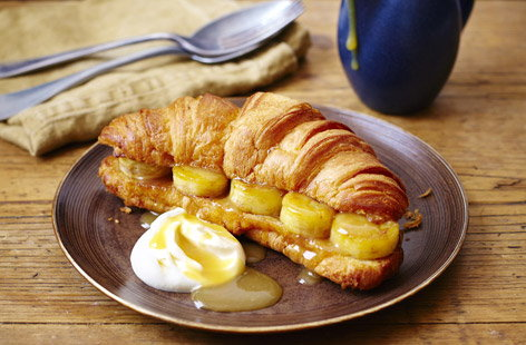 finest* sugared croissants with bananas and salted butterscotch sauce