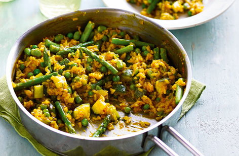 Summer greens paella