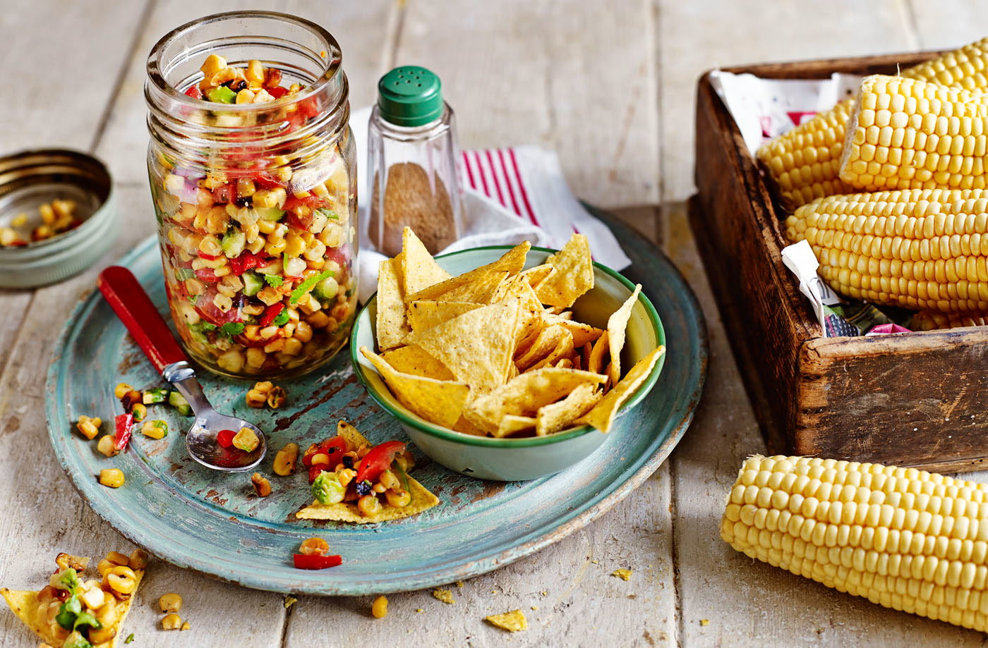 Sweetcorn relish with tortilla chips recipe