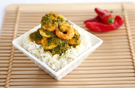 tiger prawns in green curry
