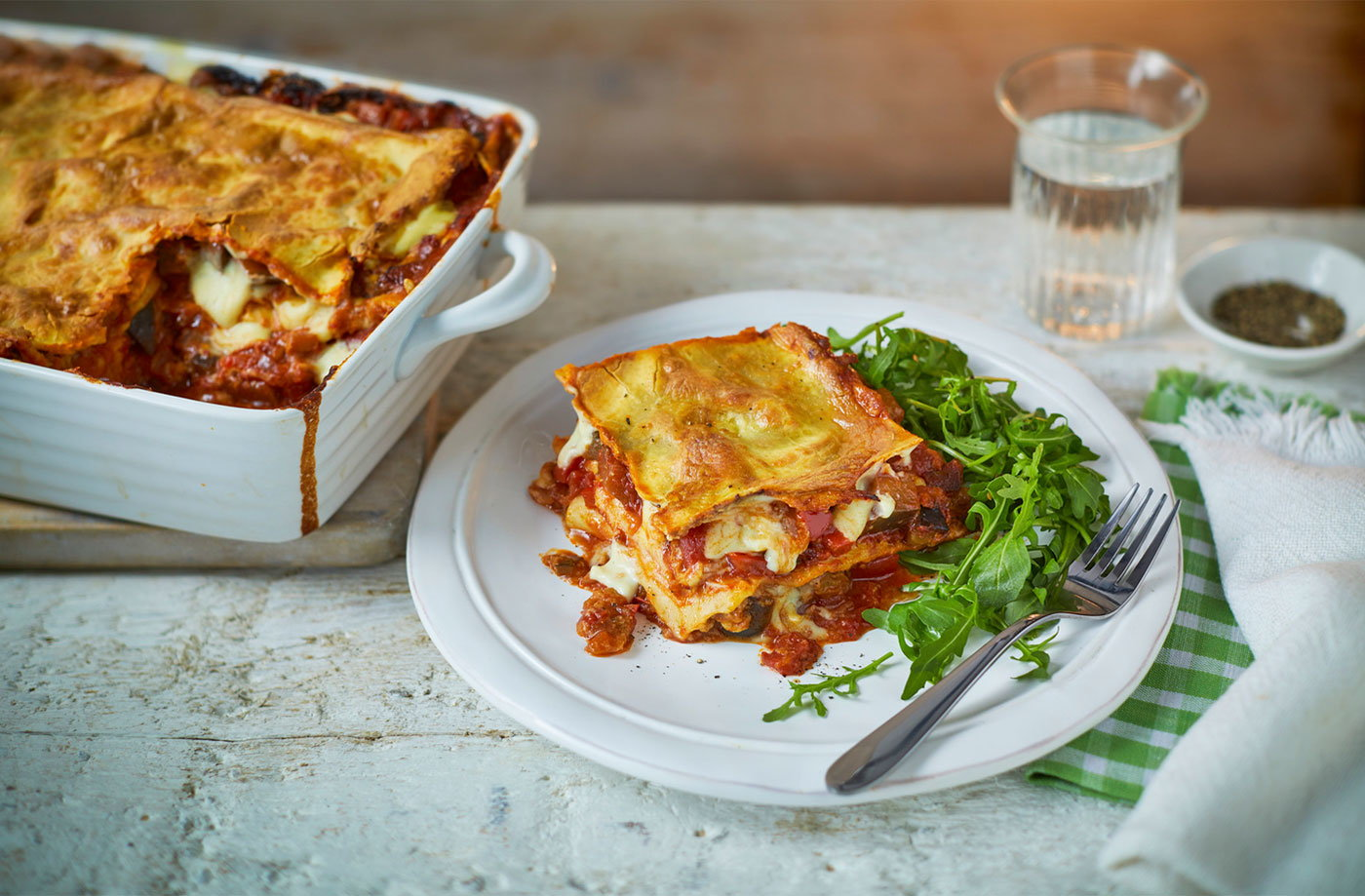 Vegan aubergine and red pepper lasagne recipe