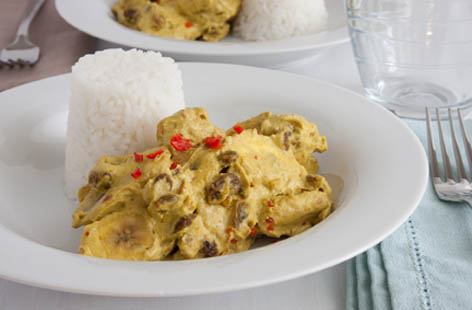 vegan green banana curry 1
