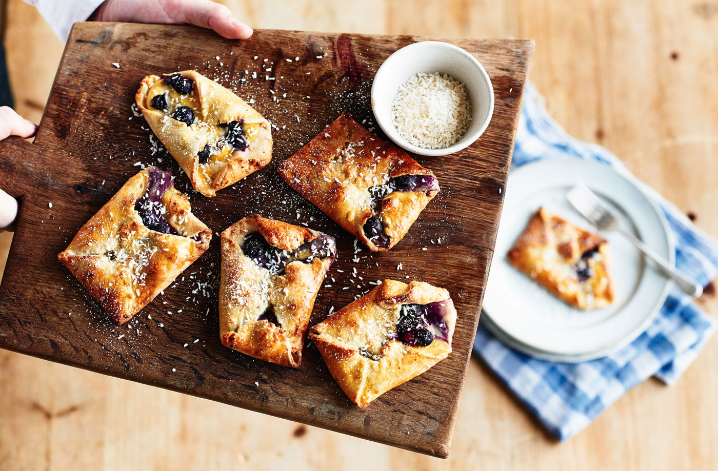 Blueberry and coconut pastries recipe